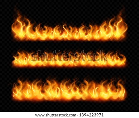 Fire flame realistic borders set of horizontal burning bonfires isolated on dark transparent background vector illustration