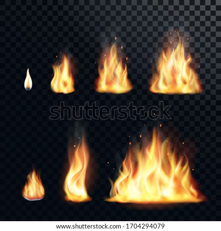 Fire flame realistic set. Flare bonfire, bright small and big fiery elements. Vector illustration.