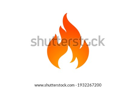 Fire, flame. Red flame in abstract style on white background. Flat fire. Modern art isolated graphic. Fire sign. Vector Illustration Stockfoto ©