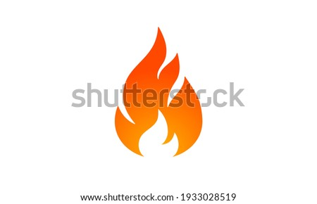 Fire, flame. Red flame in abstract style on white background. Flat fire. Modern art isolated graphic. Fire sign. Vector Illustration