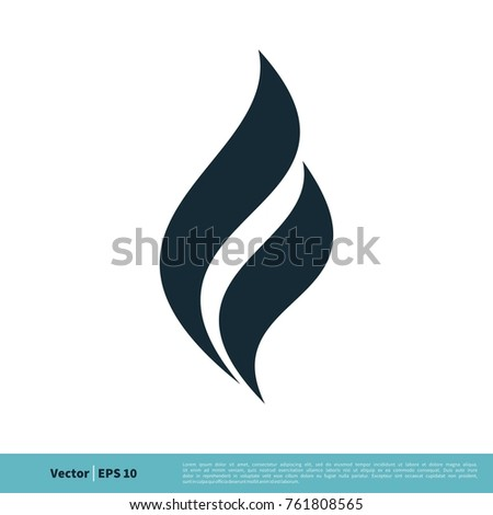 Fire Flame Swoosh Icon Vector Logo Template