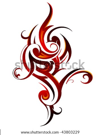 stock vector Fire flame tattoo