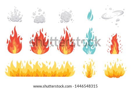 Fire flame vector icons in cartoon style. Flames of different shapes. Fireball set, flaming symbols. Foto d'archivio ©
