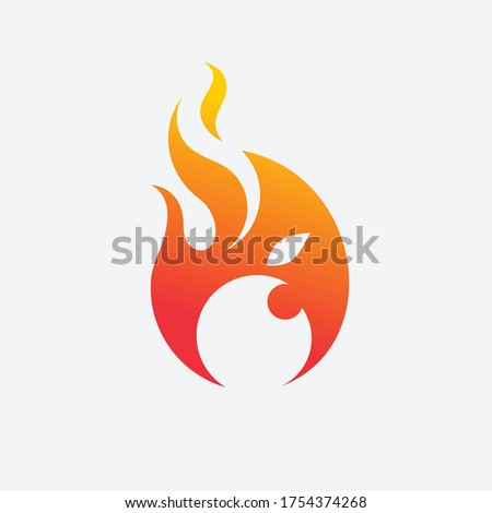 fire flame with apple vector