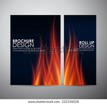 Fire flames background Brochure business design template or roll up
