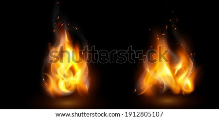 fire flames Burning red hot sparks realistic abstract background Foto stock ©