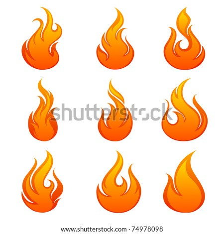 Fire flames. Collage. - stock vector