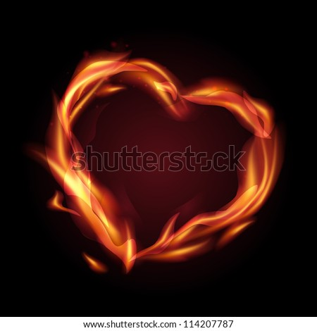 Fire flames making a heart shape. Vector illustration.