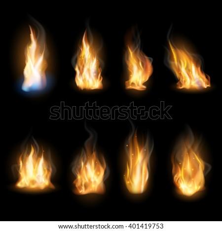 fire flames on a dark
