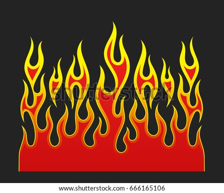 Fire flames, red and yellow gradient colored, isolated vector element