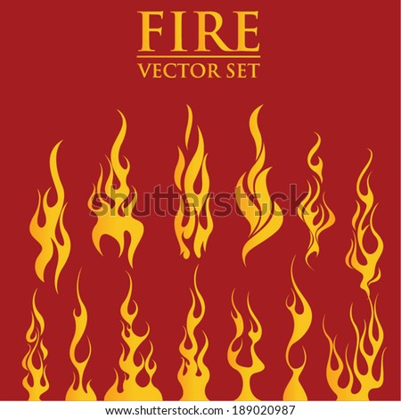 fire flames  set icons  vector