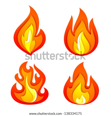 Fire flames set, isolated on white background. Vector illustration