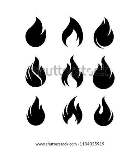 Fire flames, set Logo design inspiration vector icons