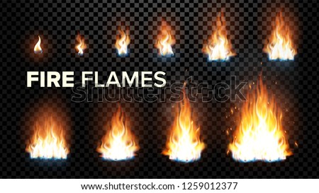 Fire Flames Set Vector. Different Animation Stages. Burning Light With Sparks Effect. Fiery Heat And Bonfire Flares Design. Isolated On Transparent Background Realistic Illustration
