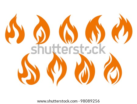 fire flames symbols isolated on