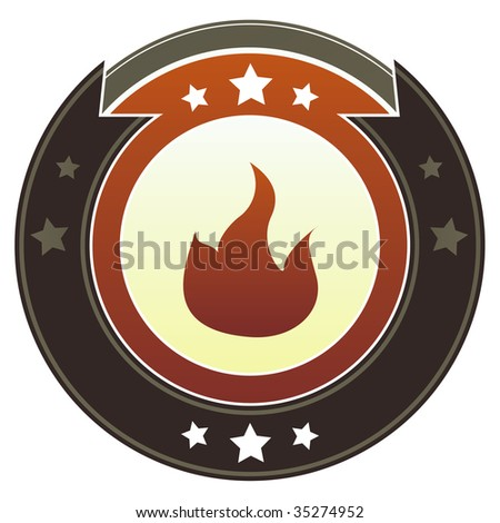Fire, flammable or camping icon on round red and brown imperial vector button with star accents suitable for use on website, in print and promotional materials, and for advertising. - stock vector