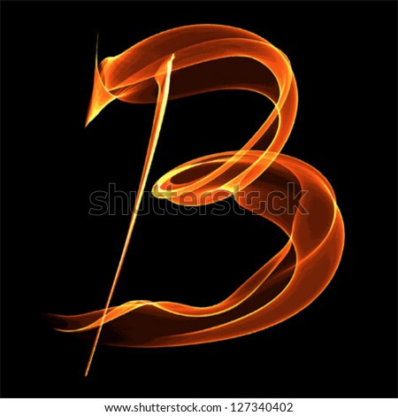 B Letter In Fire fire font letter b on black