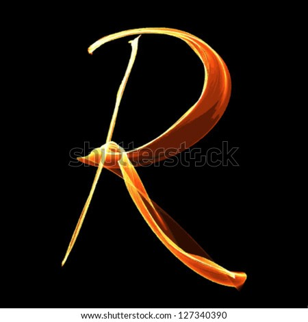 fire font letter r on black background vector