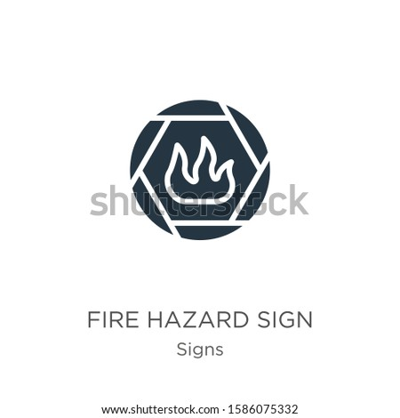 Fire hazard sign icon vector. Trendy flat fire hazard sign icon from signs collection isolated on white background. Vector illustration can be used for web and mobile graphic design, logo, eps10