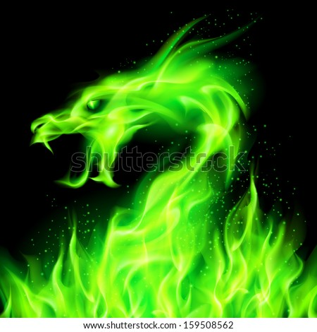 fire head of dragon in green on