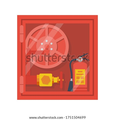 Fire hose cabinet. Equipment in the wall box. Hydrant with water hoses. Extinguish equipment. Fire hose cabinet. Red emergency box. Vector illustration flat design. Isolated on white background.