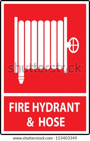 Fire hose reel sign and symbol, Vector illustration