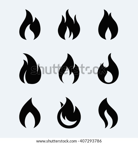 Fire icon vector set  isolated from background. Fire flames black silhouettes.  Different dark fire icons in modern flat style. Flaming fire simple shape.