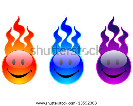 Fire icon with happy face
