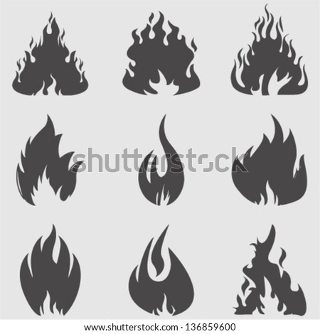 fire icons setvector