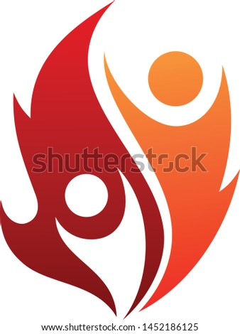 Fire life vector icon with two people in abstract style. Fire icon isolated on white background. Vector illustration EPS.8 EPS.10