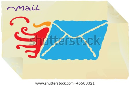 fire mail simple yellow paper label