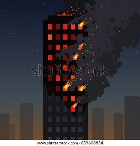 fire of the skyscraper on a