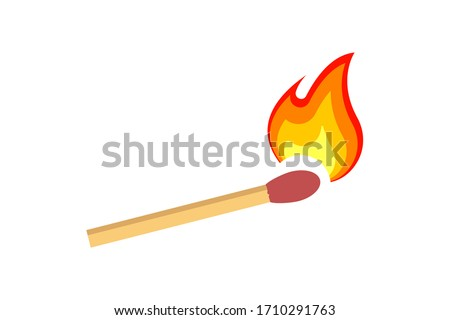 Fire on a match. Burning Fire. Warm. Ignition of a match Foto d'archivio ©