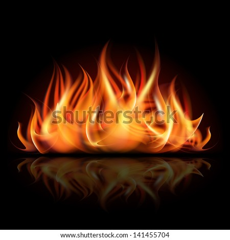 fire on dark background. vector ...