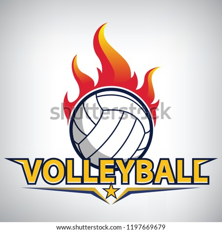 fire on volleyball championship logo. modern sport emblem. vector illustration