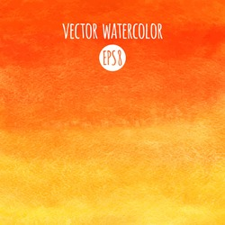 Fire or sunset colors watercolor vector background. Red, orange, yellow gradient fill. Hand drawn texture.