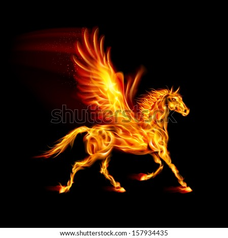 fire pegasus in motion on black
