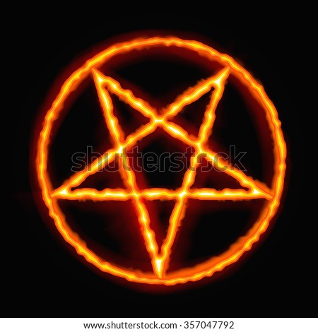 fire pentagram satanic sign
