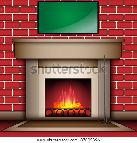 Fire Place With Blank Message Board
