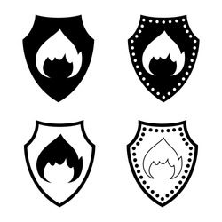 Fire protection icon. Defensive shield and burning fire sign. Vector Illustration