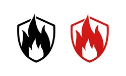 Fire protection icon. Heat resistant sign. Fire resistance concept. Shield with flame. Refractory sign. Illustration vector