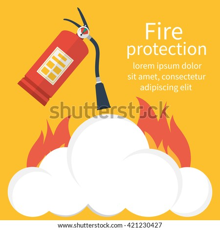 Fire protection, safety. Fire extinguisher aimed at the fire. Vector illustration flat design. Template banner for web design and print. Place to describe instructions.