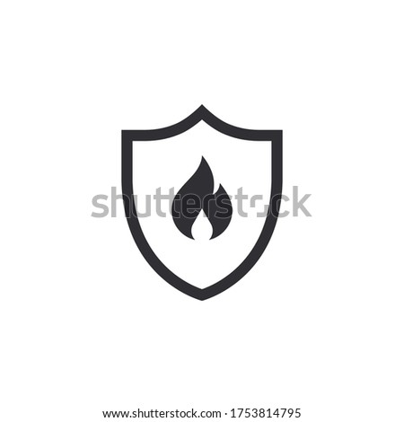 Fire protection. Vector fire shield. Shield icon. Security icon. Protection icon. Shield vector icon. Fire safety. Fire extinguishing system. Flame sign. Alert sign. Flammable. Combustion protection.