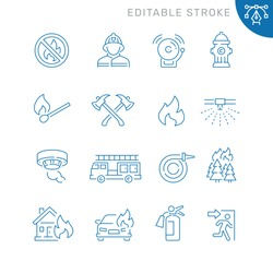Fire related icons. Editable stroke. Thin vector icon set