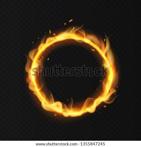 Fire ring. Realistic burning flame. Fiery circus circle hot hoop warm fire blazing effect red flaming isolated vector illustration