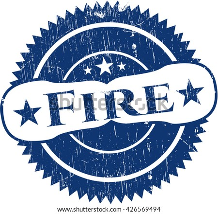 Fire rubber stamp with grunge texture
