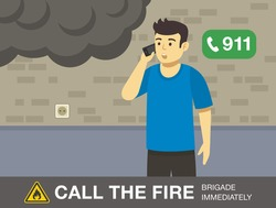 Fire safety activity. Young man calling the fire brigade. Flat vector illustration.