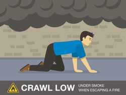 Fire safety activity. Young man crawling to escape a fire in a building. Flat vector illustration.