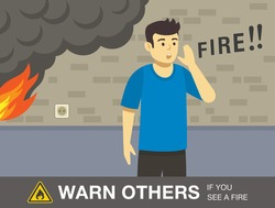 Fire safety activity. Young man is warning other people for fire. Flat vector illustration template.