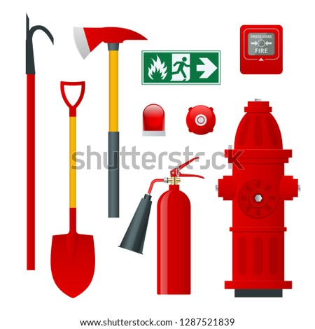 Fire safety and protection. Flat icons extinguisher, hose, flame, hydrant, protective helmet, alarm, axe, shovel, conical bucket and exit sign. Vector illustration